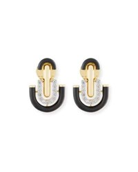 David Webb Black Enamel And Diamond U Drop Earrings