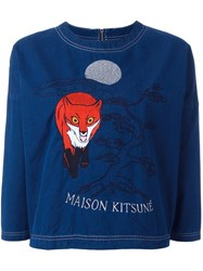 Maison Kitsune Embroidered Detail Cropped Top Blue