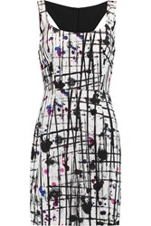 Milly Splatter Printed Crepe Dress Black