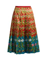 Gucci Floral Print Pleated Silk Satin Skirt Red Multi