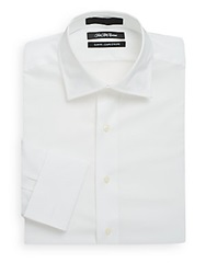 Saks Fifth Avenue Slim Fit Solid Cotton Dress Shirt White