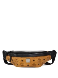 Mcm Visetos Two Tone Coated Canvas And Leather Waist Bag Cognac