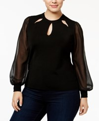 Inc International Concepts Plus Size Bishop Sleeve Cutout Top Only At Macy's Deep Black