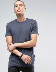 Allsaints Longline T Shirt With Step Back Hem Workers Blue
