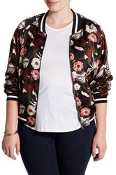 Jolt Sheer Floral Bomber Jacket Plus Size Multi