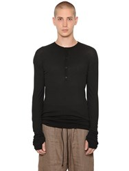 Isabel Benenato Cotton Rib Knit L S Henley Shirt