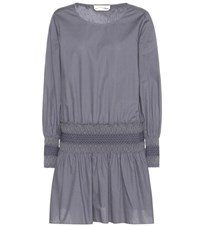 See By Chloe Smocked Cotton Dress Grey