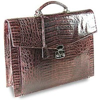 Fontanelli Brown Croc Embossed Leather Briefcase