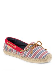 Sperry Canvas Stripe Slip On Shoes Red