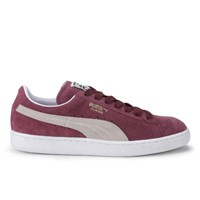 Puma Men's Basketball Suede Classic Low Top Trainers Burgundy White