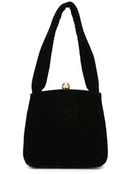 Chanel Vintage Velvet Evening Bag Black