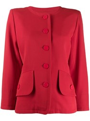 Yves Saint Laurent Pre Owned Loose Collarless Jacket Red