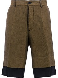Ann Demeulemeester Striped Tailored Shorts Gold