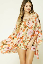 Forever 21 Tropical Floral Cover Up Kaftan Orange Multi
