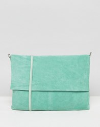 Asos Unlined Soft Leather Cross Body Bag With Detachable Strap Mint Green