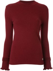 Emilio Pucci Ruffled Detail Knitted Jumper Red