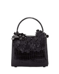 Nancy Gonzalez Lily Crocodile Top Handle Bag With Flowers Black