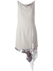 Marios Schwab Layered Print Dress Nude And Neutrals