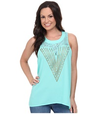 Rock And Roll Cowgirl Sleeveless Tank Top B5 3776 Mint Women's Sleeveless Green