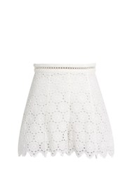 Zimmermann Divinity Wheel Broderie Anglaise Shorts White