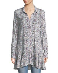 Chelsea And Theodore Long Sleeve Paisley Button Front Peplum Tunic Multi