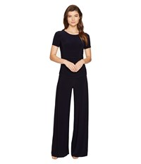 Norma Kamali Short Sleeve Shirred Waist Jumpsuit Midnight Women's Jumpsuit And Rompers One Piece Navy