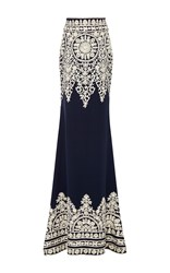 Naeem Khan Threadwork Floor Length Skirt Navy