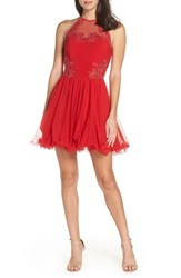 Blondie Nites Applique Mesh Fit And Flare Halter Dress Red