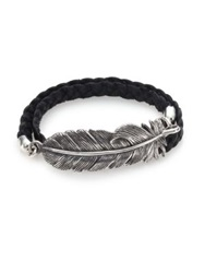 King Baby Studio Double Wrap Raven Feather And Leather Bracelet Silver Black