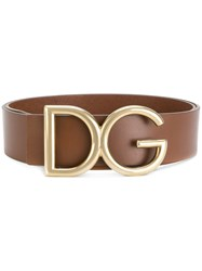 Dolce And Gabbana Logo Buckle Belt Calf Leather Brown