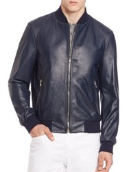 Saks Fifth Avenue Leather And Cotton Bomber Jacket