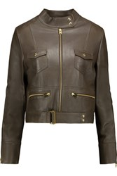 Iro Broome Leather Biker Jacket Army Green