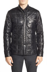 J. Lindeberg 'Lawler' Quilted Down Leather Moto Jacket Black