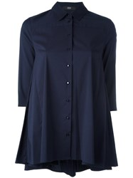 Steffen Schraut Cropped Sleeves Shirt Blue