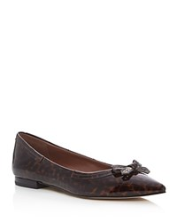 Cole Haan Alice Leopard Print Pointed Toe Ballet Flats Tortoise