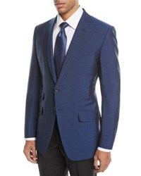 Tom Ford O'connor Textured Wool Blend Two Button Jacket Bright Blue