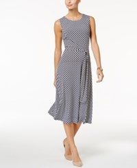 Charter Club Petite Geo Print Belted Fit And Flare Dress Only At Macy's Intrepid Blue Combo