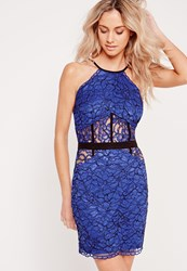 Missguided Lace Bodycon Mini Dress Cobalt Blue Blue