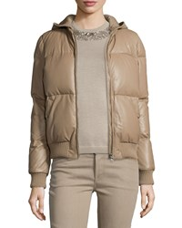 Ralph Lauren Hooded Leather Puffer Jacket Taupe Brown Women's