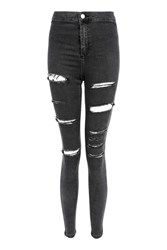 Topshop Moto Washed Black Ripped Joni Jeans Washed Black