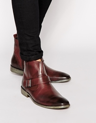 Base London Buckle Strap Boot Red