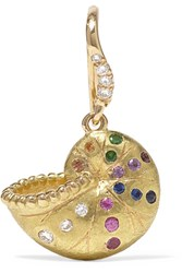 Aurelie Bidermann Nautilus Keeper 18 Karat Gold Multi Stone Earring One Size