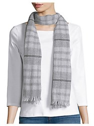 Amicale Plaid Cashmere Scarf Light Grey