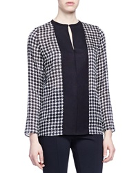 Lanvin Houndstooth Contrast Placket Blouse