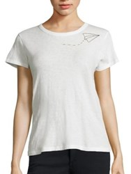 Rag And Bone Paper Plane Embroidered Cotton Tee Blanc