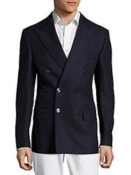 Tom Ford Classic Fit Double Breasted Long Sleeve Jacket Navy