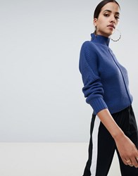 Missguided High Neck Jumper In Blue