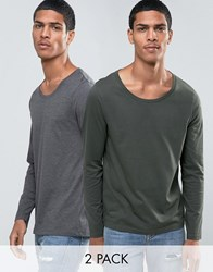 Asos Long Sleeve T Shirt With Scoop Neck 2 Pack Charcoal Khaki Multi