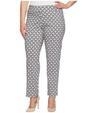 Krazy Larry Plus Size Pull On Ankle Pants Multi Diamonds Women's Dress Pants Gray