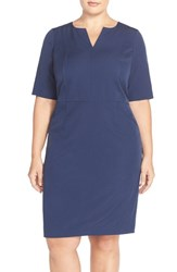 Mynt Plus Size Women's 1792 Seam Detail Stretch Crepe Sheath Dress Twilight Blue